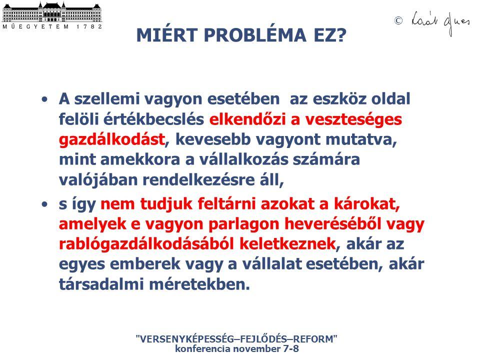 © VERSENYKÉPESSÉG–FEJLŐDÉS–REFORM konferencia november 7-8 MIÉRT PROBLÉMA EZ.