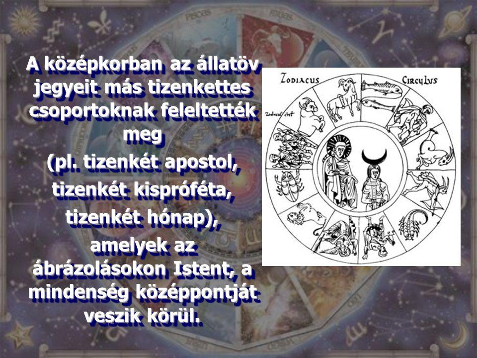 A középkorban az állatöv jegyeit más tizenkettes csoportoknak feleltették meg (pl. tizenkét apostol, tizenkét kispróféta, tizenkét hónap), amelyek az