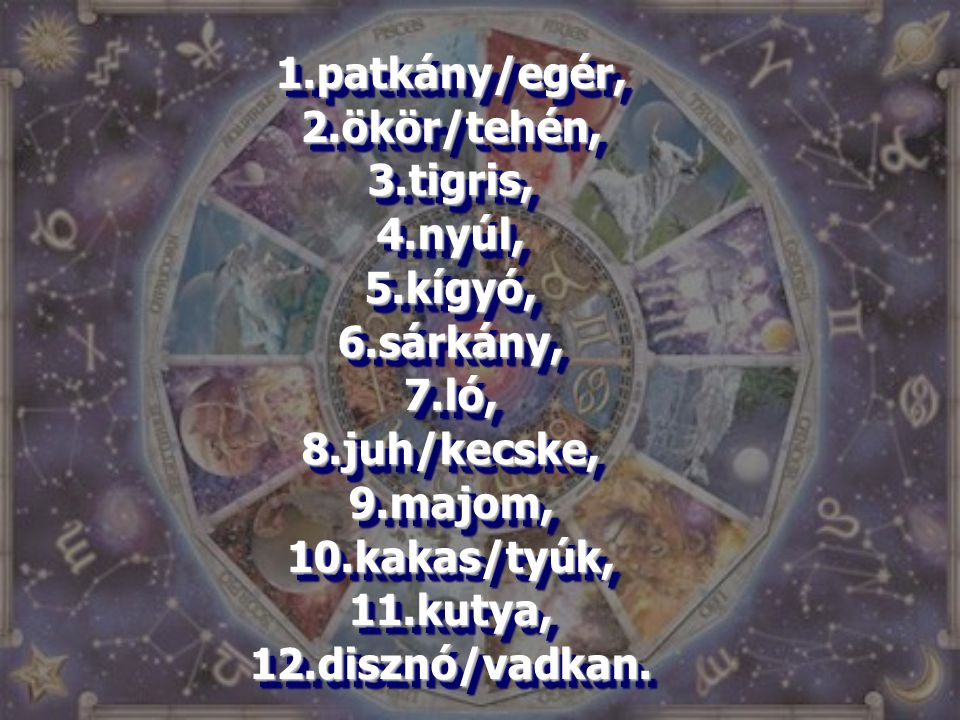 1.patkány/egér, 2.ökör/tehén, 3.tigris, 4.nyúl, 5.kígyó, 6.sárkány, 7.ló, 8.juh/kecske, 9.majom, 10.kakas/tyúk, 11.kutya, 12.disznó/vadkan. 1.patkány/