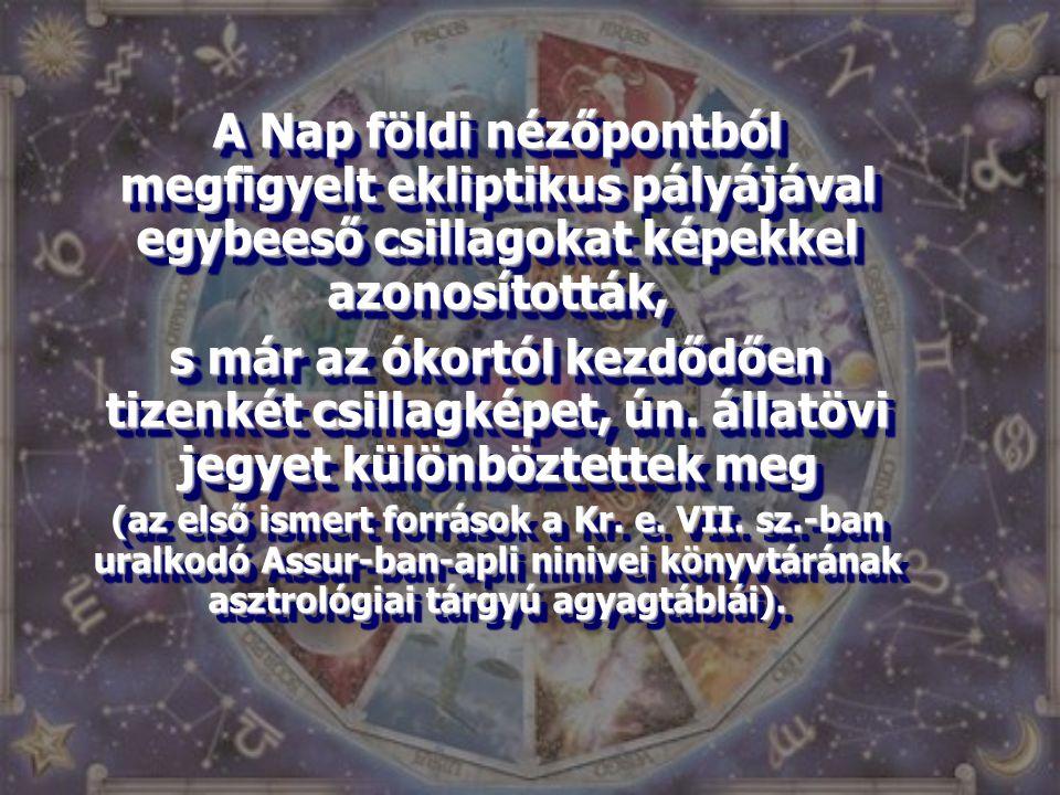 A Nap földi nézőpontból megfigyelt ekliptikus pályájával egybeeső csillagokat képekkel azonosították, s már az ókortól kezdődően tizenkét csillagképet