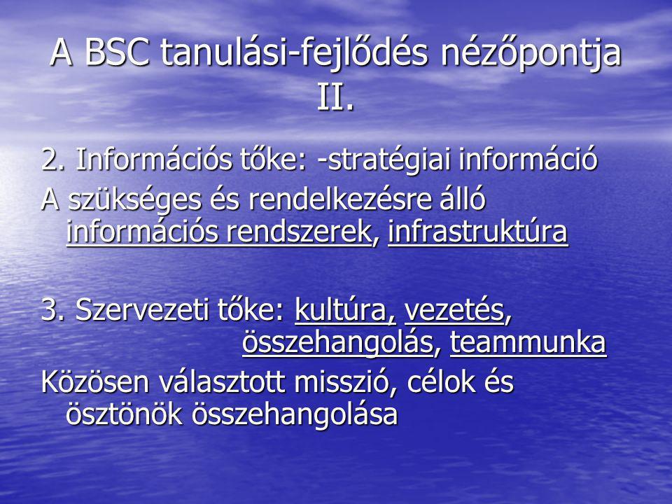 A BSC tanulási-fejlődés nézőpontja II. 2. Információs tőke: -stratégiai információ A szükséges és rendelkezésre álló információs rendszerek, infrastru