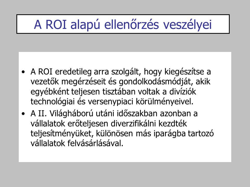 A ROI alapú ellenőrzés veszélyei A ROI eredetileg arra szolgált, hogy kiegészítse a vezetők megérzéseit és gondolkodásmódját, akik egyébként teljesen