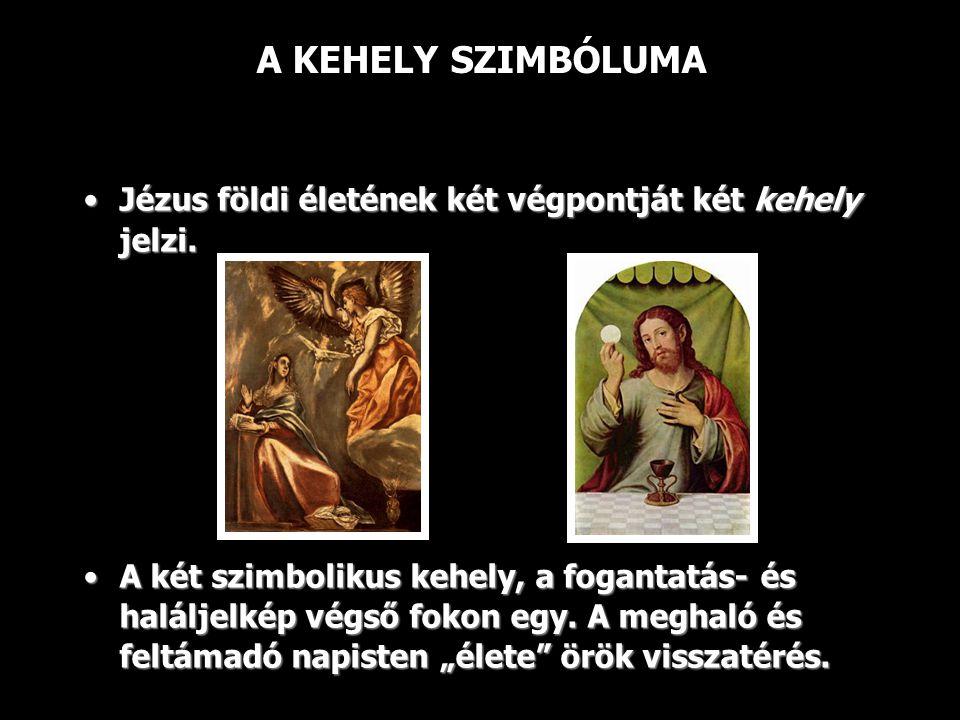 A KEHELY SZIMBÓLUMA Jézus földi életének két végpontját két kehely jelzi.Jézus földi életének két végpontját két kehely jelzi.