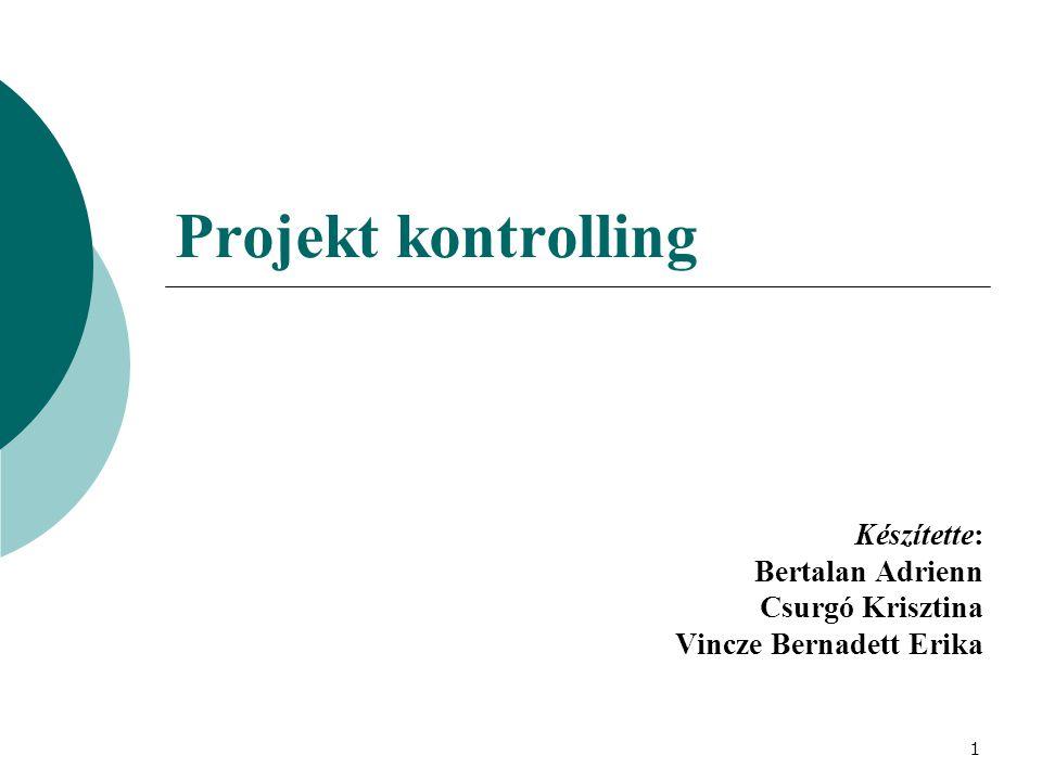 1 Projekt kontrolling Készítette: Bertalan Adrienn Csurgó Krisztina Vincze Bernadett Erika