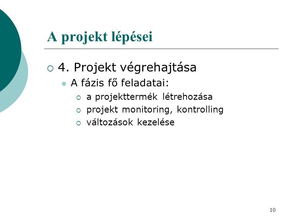10 A projekt lépései  4. Projekt végrehajtása A fázis fő feladatai:  a projekttermék létrehozása  projekt monitoring, kontrolling  változások keze
