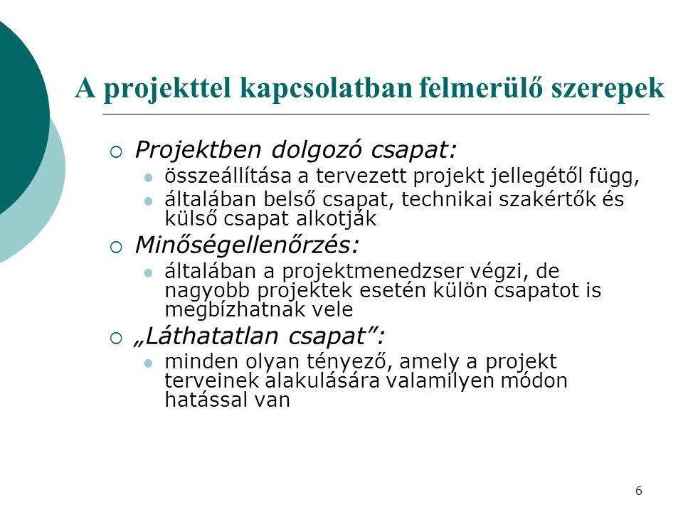 6 A projekttel kapcsolatban felmerülő szerepek  Projektben dolgozó csapat: összeállítása a tervezett projekt jellegétől függ, általában belső csapat,