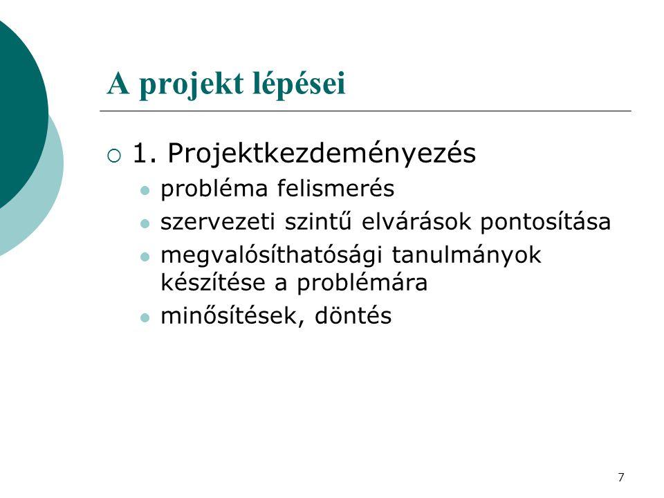 7 A projekt lépései  1. Projektkezdeményezés probléma felismerés szervezeti szintű elvárások pontosítása megvalósíthatósági tanulmányok készítése a p
