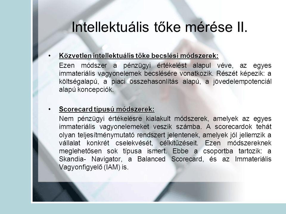 Intellektuális tőke mérése II. Közvetlen intellektuális tőke becslési módszerek:Közvetlen intellektuális tőke becslési módszerek: Ezen módszer a pénzü