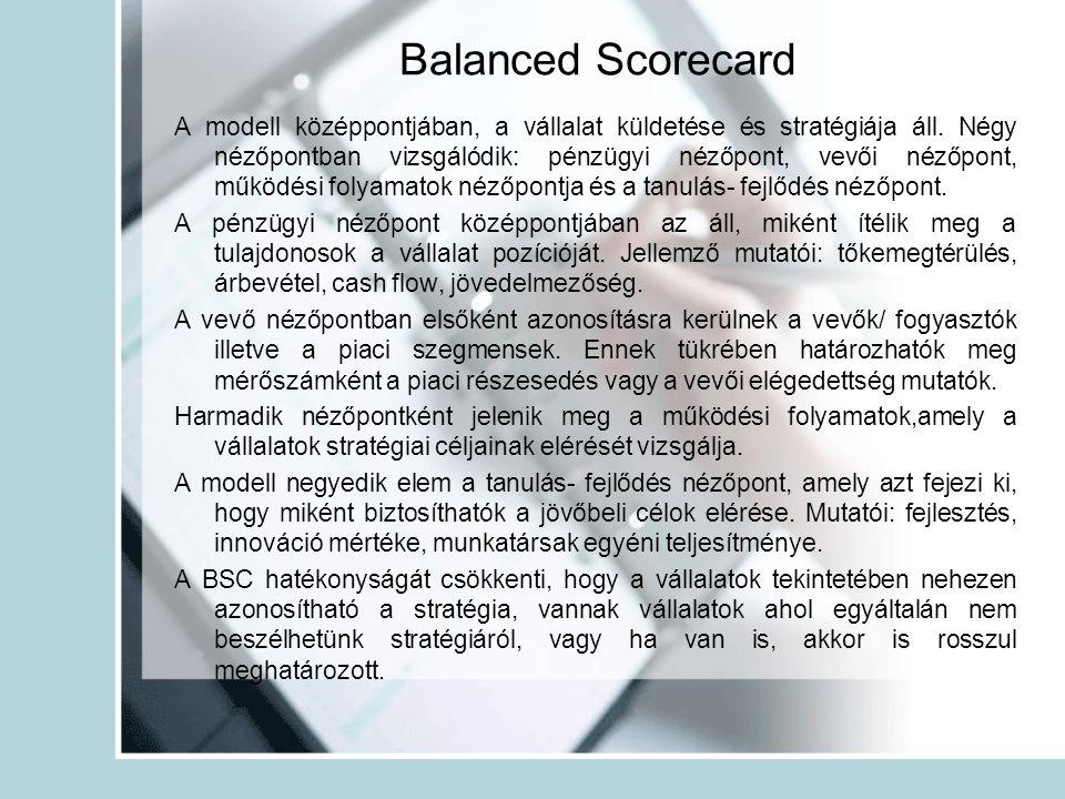 Balanced Scorecard A modell középpontjában, a vállalat küldetése és stratégiája áll. Négy nézőpontban vizsgálódik: pénzügyi nézőpont, vevői nézőpont,
