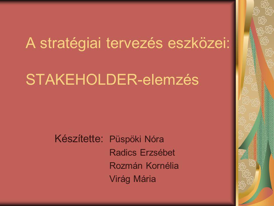 A stratégiai tervezés eszközei: STAKEHOLDER-elemzés Készítette: Püspöki Nóra Radics Erzsébet Rozmán Kornélia Virág Mária