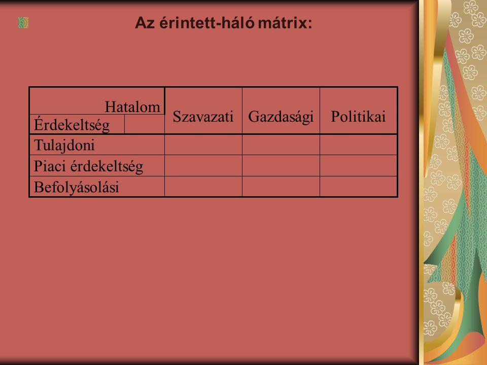 Az érintett-háló mátrix: Befolyásolási Piaci érdekeltség Tulajdoni Érdekeltség Politikai Gazdasági Szavazati Hatalom