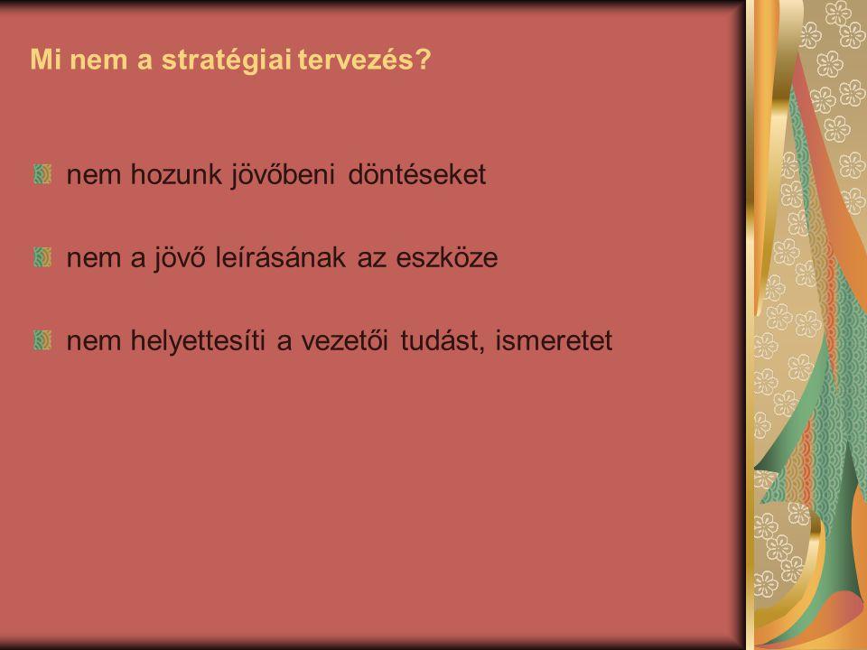 Mi nem a stratégiai tervezés? nem hozunk jövőbeni döntéseket nem a jövő leírásának az eszköze nem helyettesíti a vezetői tudást, ismeretet