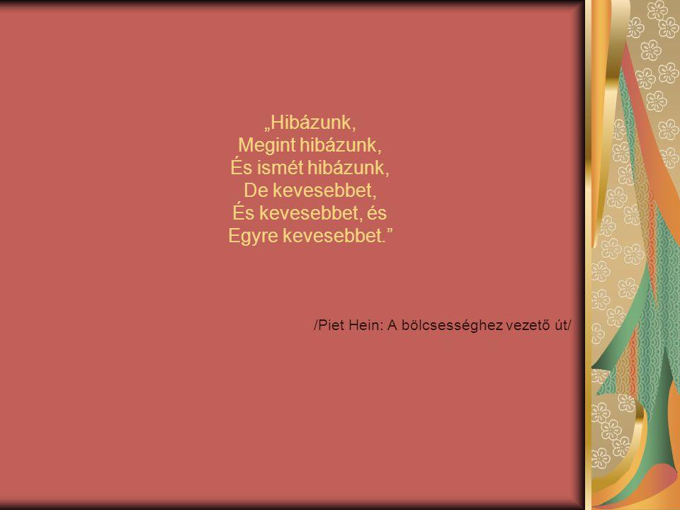 """""""Hibázunk, Megint hibázunk, És ismét hibázunk, De kevesebbet, És kevesebbet, és Egyre kevesebbet."""" /Piet Hein: A bölcsességhez vezető út/"""