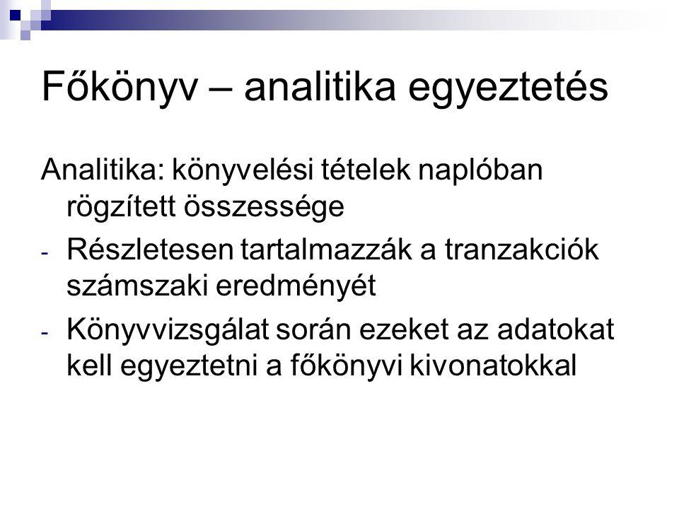 Főkönyv – analitika egyeztetés Analitika: könyvelési tételek naplóban rögzített összessége - Részletesen tartalmazzák a tranzakciók számszaki eredmény