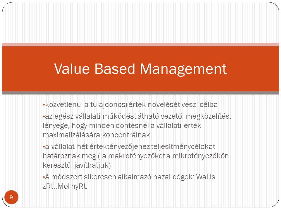 közvetlenül a tulajdonosi érték növelését veszi célba az egész vállalati működést átható vezetői megközelítés, lényege, hogy minden döntésnél a vállal