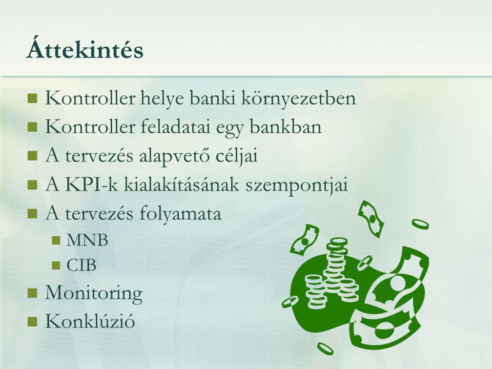 A banki környezet Tulajdonviszony: 15 éve: 70% állami tulajdon ma: nagyrészt privatizált, 85-90% külföldi tulajdon Külföldi befektetők célja: magas szintű szolgáltatási színvonal profitszerzés az anyabanknak A magyar bankszektor nemzetközi viszonylatban is eredményes kisebb kockázatot, mint a Ny-Európai bankrendszerek Cél a profit maximalizálása költség-hatékony működéssel → kontroller megtervezi, ellenőrzi, szükség esetén beavatkozási javaslatot tesz