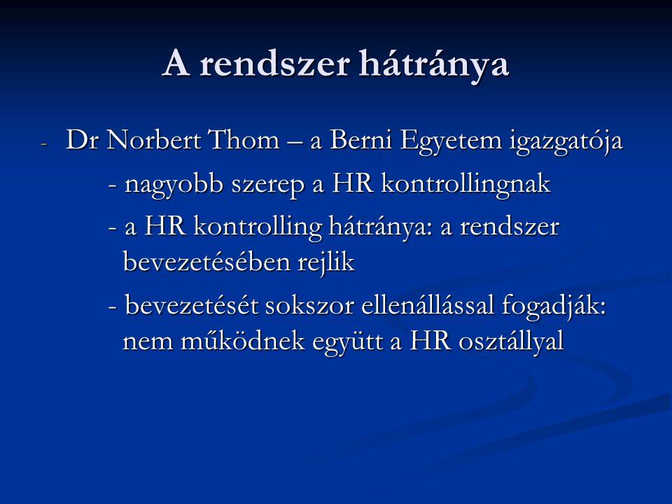 A rendszer hátránya - Dr Norbert Thom – a Berni Egyetem igazgatója - nagyobb szerep a HR kontrollingnak - a HR kontrolling hátránya: a rendszer bevezetésében rejlik - bevezetését sokszor ellenállással fogadják: nem működnek együtt a HR osztállyal