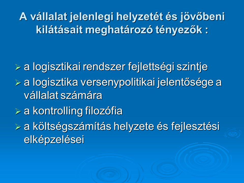 A vállalat jelenlegi helyzetét és jövőbeni kilátásait meghatározó tényezők :  a logisztikai rendszer fejlettségi szintje  a logisztika versenypoliti