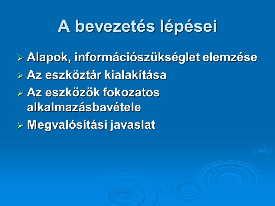 A bevezetés lépései  Alapok, információszükséglet elemzése  Az eszköztár kialakítása  Az eszközök fokozatos alkalmazásbavétele  Megvalósítási java