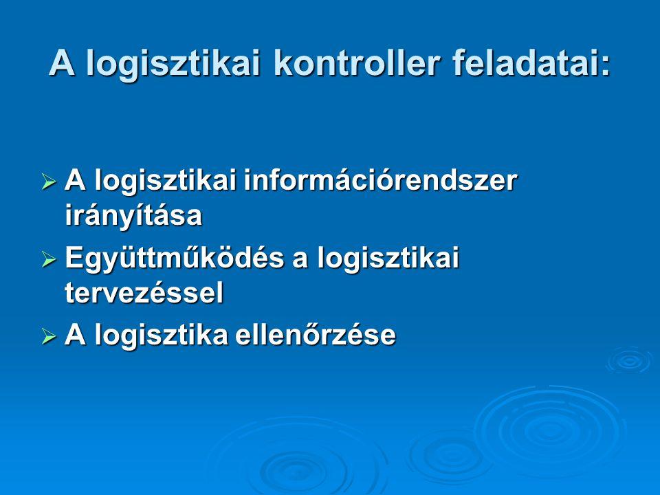 A logisztikai kontroller feladatai:  A logisztikai információrendszer irányítása  Együttműködés a logisztikai tervezéssel  A logisztika ellenőrzése