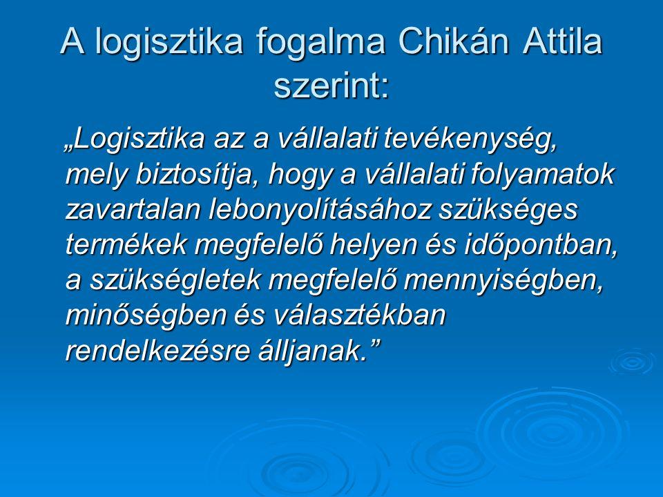 """A logisztika fogalma Chikán Attila szerint: """"Logisztika az a vállalati tevékenység, mely biztosítja, hogy a vállalati folyamatok zavartalan lebonyolít"""