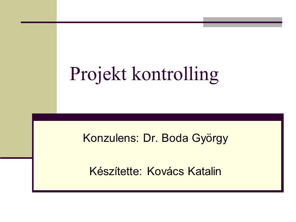 Projekt kontrolling Konzulens: Dr. Boda György Készítette: Kovács Katalin