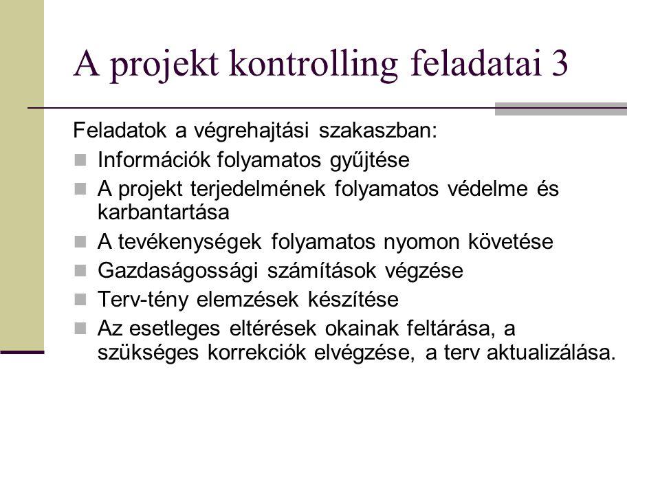 A projekt kontrolling feladatai 3 Feladatok a végrehajtási szakaszban: Információk folyamatos gyűjtése A projekt terjedelmének folyamatos védelme és karbantartása A tevékenységek folyamatos nyomon követése Gazdaságossági számítások végzése Terv-tény elemzések készítése Az esetleges eltérések okainak feltárása, a szükséges korrekciók elvégzése, a terv aktualizálása.