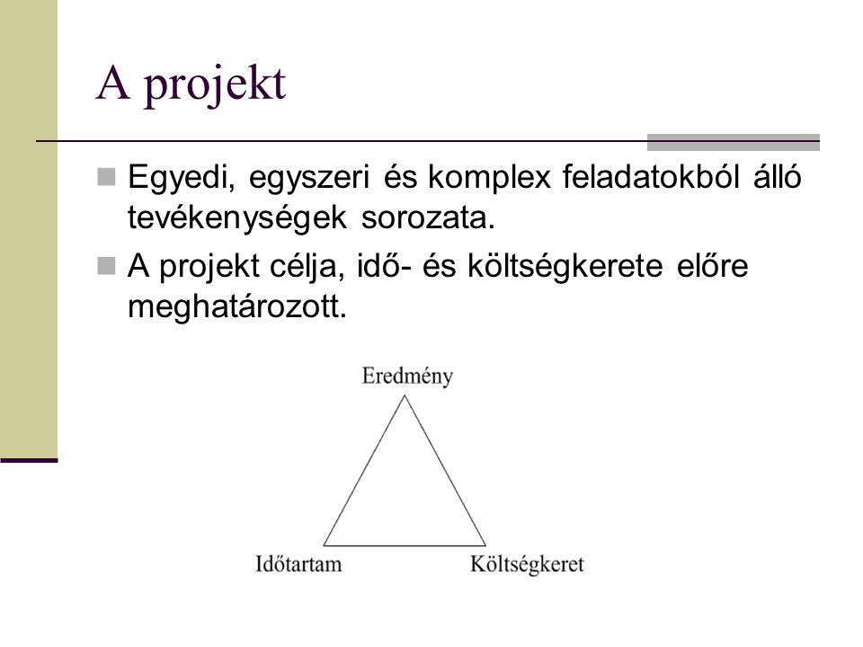 A projekt Egyedi, egyszeri és komplex feladatokból álló tevékenységek sorozata.