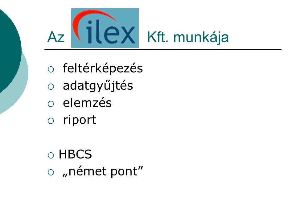 """Az Kft. munkája  feltérképezés  adatgyűjtés  elemzés  riport  HBCS  """"német pont"""