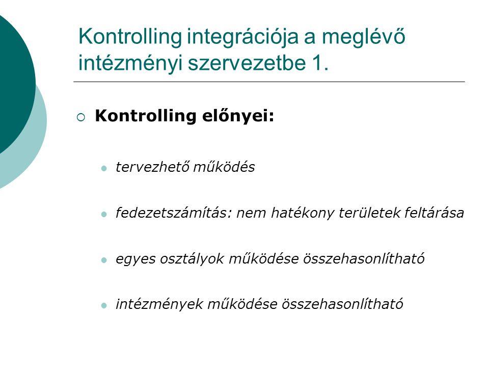 Kontrolling integrációja a meglévő intézményi szervezetbe 1.