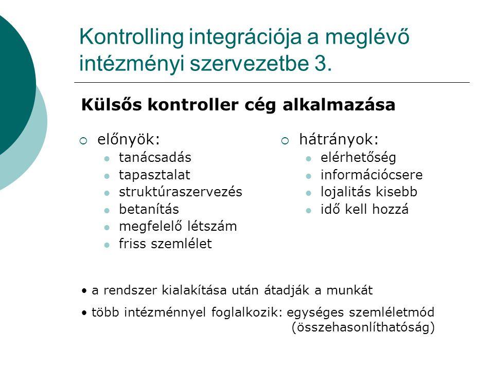 Kontrolling integrációja a meglévő intézményi szervezetbe 3.
