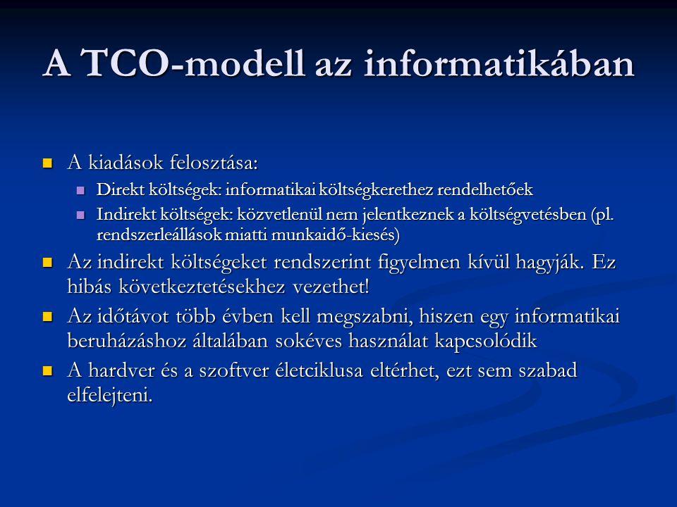 A TCO-modell az informatikában A kiadások felosztása: A kiadások felosztása: Direkt költségek: informatikai költségkerethez rendelhetőek Direkt költsé