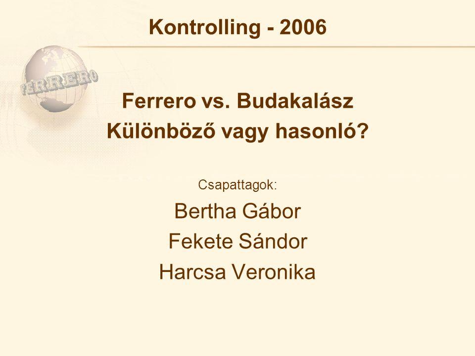 Kontrolling - 2006 Ferrero vs. Budakalász Különböző vagy hasonló.