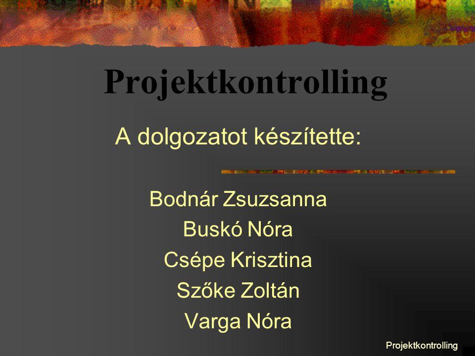 Projektkontrolling A dolgozatot készítette: Bodnár Zsuzsanna Buskó Nóra Csépe Krisztina Szőke Zoltán Varga Nóra