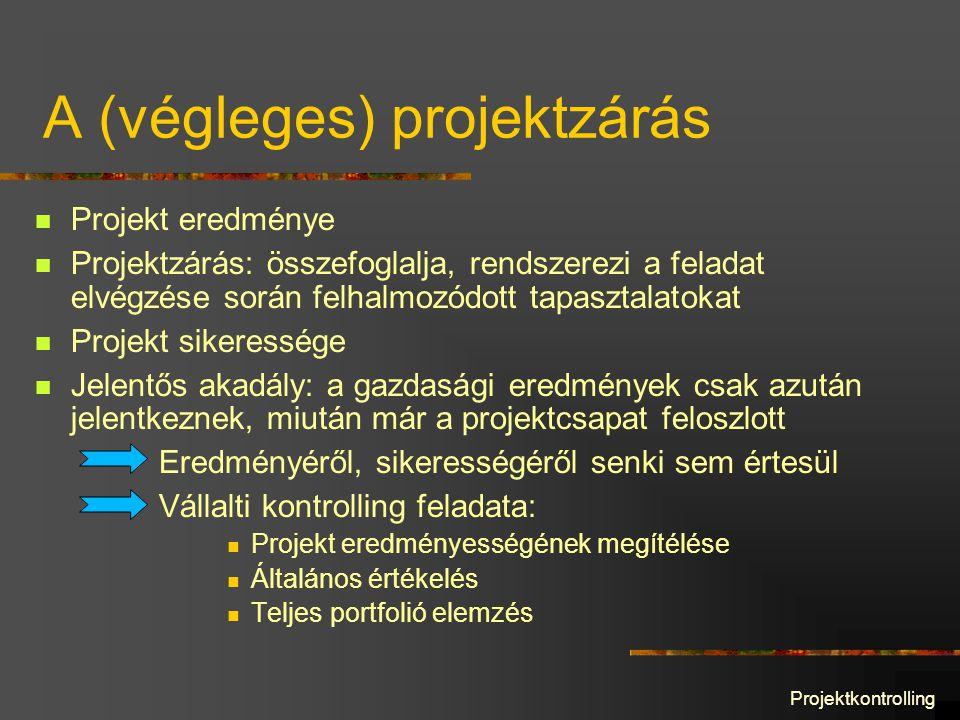 Projektkontrolling A (végleges) projektzárás Projekt eredménye Projektzárás: összefoglalja, rendszerezi a feladat elvégzése során felhalmozódott tapasztalatokat Projekt sikeressége Jelentős akadály: a gazdasági eredmények csak azután jelentkeznek, miután már a projektcsapat feloszlott Eredményéről, sikerességéről senki sem értesül Vállalti kontrolling feladata: Projekt eredményességének megítélése Általános értékelés Teljes portfolió elemzés