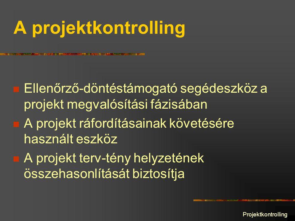 Projektkontrolling A projektkontrolling Ellenőrző-döntéstámogató segédeszköz a projekt megvalósítási fázisában A projekt ráfordításainak követésére használt eszköz A projekt terv-tény helyzetének összehasonlítását biztosítja