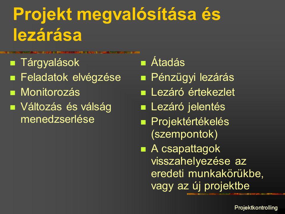 Projektkontrolling Projekt megvalósítása és lezárása Tárgyalások Feladatok elvégzése Monitorozás Változás és válság menedzserlése Átadás Pénzügyi lezárás Lezáró értekezlet Lezáró jelentés Projektértékelés (szempontok) A csapattagok visszahelyezése az eredeti munkakörükbe, vagy az új projektbe