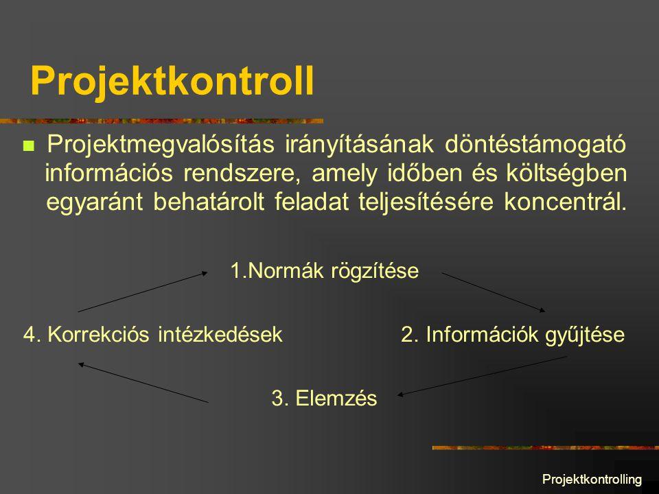Projektkontrolling Projektkontroll Projektmegvalósítás irányításának döntéstámogató információs rendszere, amely időben és költségben egyaránt behatárolt feladat teljesítésére koncentrál.