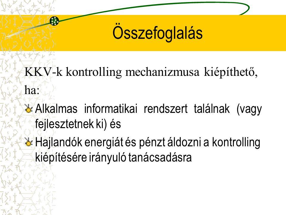 Összefoglalás KKV-k kontrolling mechanizmusa kiépíthető, ha: Alkalmas informatikai rendszert találnak (vagy fejlesztetnek ki) és Hajlandók energiát és
