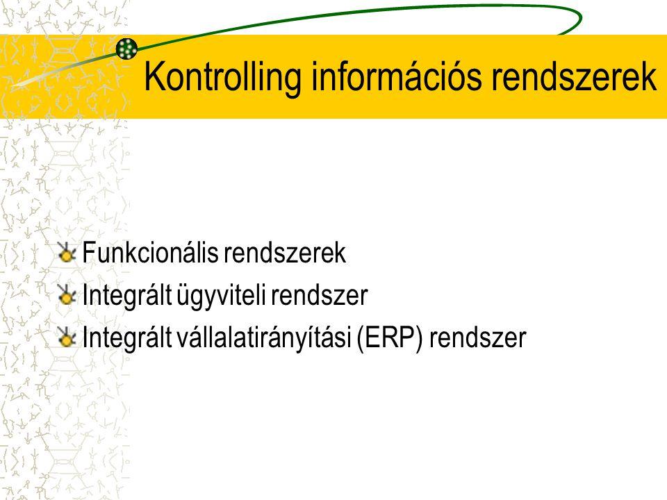 Kontrolling információs rendszerek Funkcionális rendszerek Integrált ügyviteli rendszer Integrált vállalatirányítási (ERP) rendszer