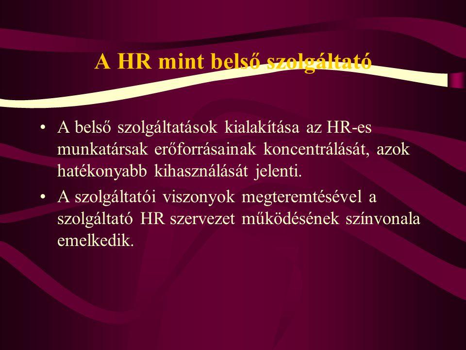 A HR mint belső szolgáltató A belső szolgáltatások kialakítása az HR-es munkatársak erőforrásainak koncentrálását, azok hatékonyabb kihasználását jelenti.