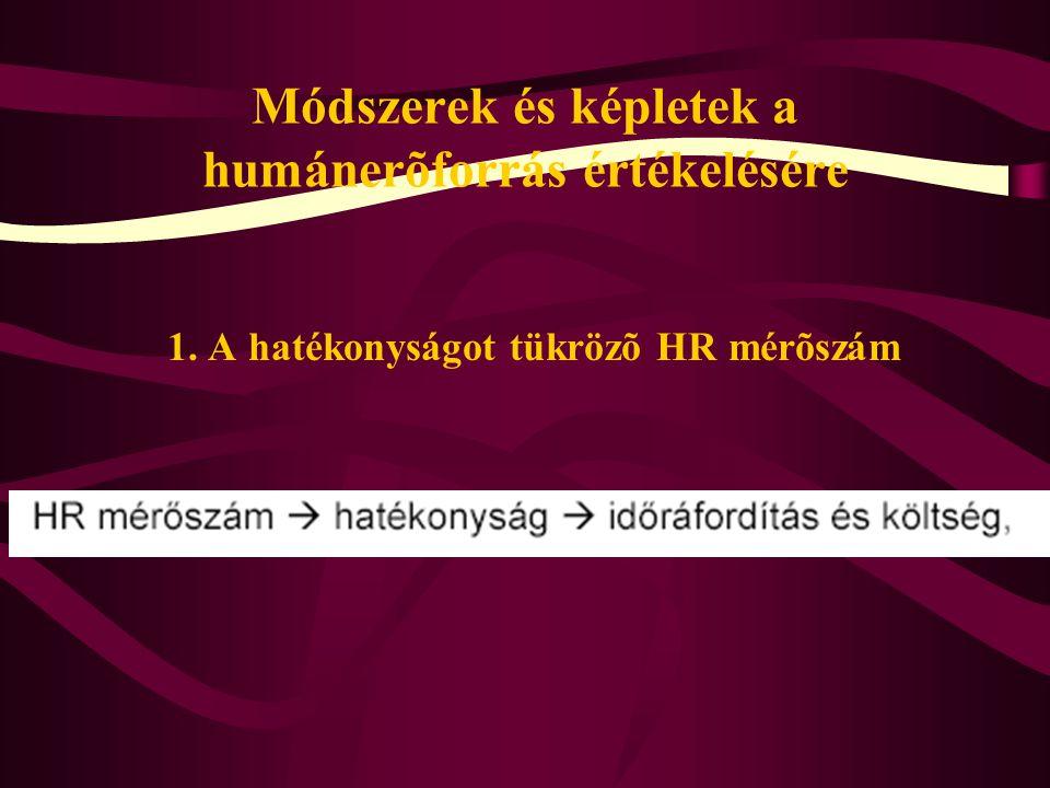 Módszerek és képletek a humánerõforrás értékelésére 1. A hatékonyságot tükrözõ HR mérõszám