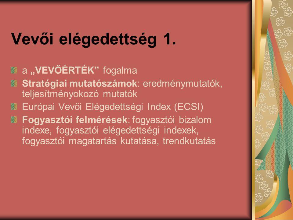"""Vevői elégedettség 1. a """"VEVŐÉRTÉK"""" fogalma Stratégiai mutatószámok: eredménymutatók, teljesítményokozó mutatók Európai Vevői Elégedettségi Index (ECS"""