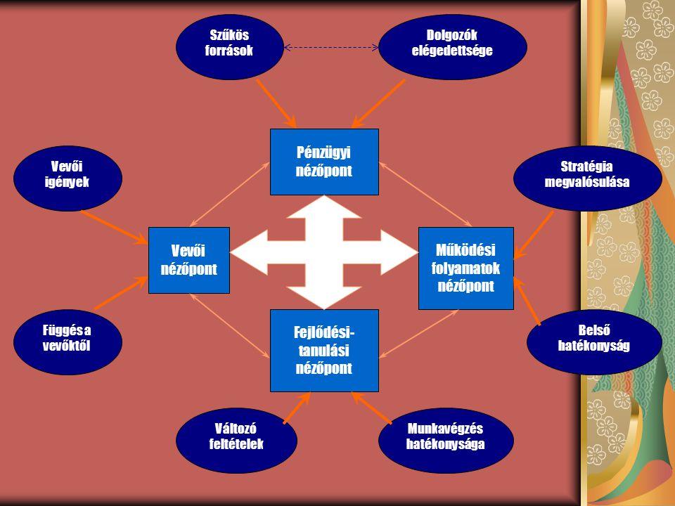 Szűkös források Dolgozók elégedettsége Stratégia megvalósulása Belső hatékonyság Változó feltételek Munkavégzés hatékonysága Vevői igények Függés a ve