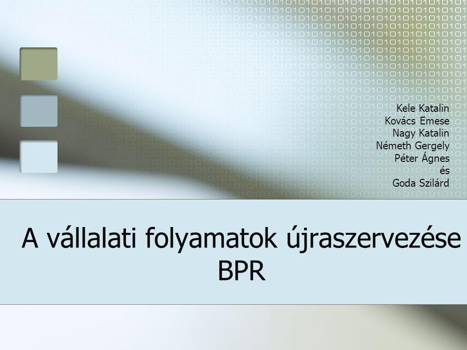 Előszó Tartalom: Előszó BPR fogalma Folyamat Implementálás Sikertelenség Szükségesség Gyorsuló piaci változások Globális nagyvállalatok folyamatai erősen formalizáltak; klasszikus sémára épülnek Tévhit az alkalmazottak tanulási képességeiről