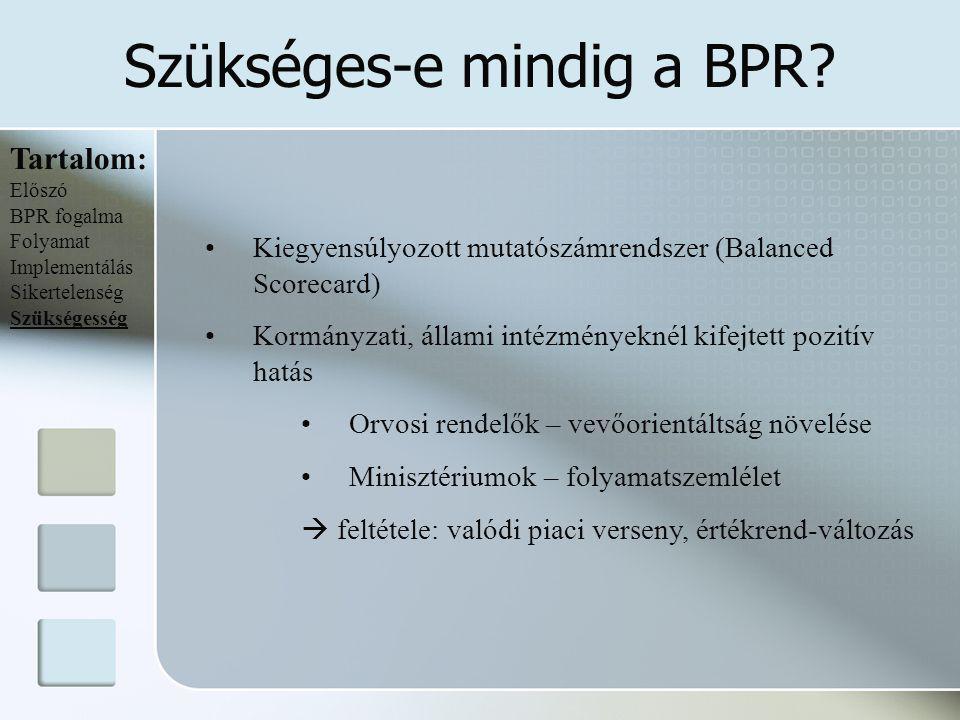 Szükséges-e mindig a BPR? Tartalom: Előszó BPR fogalma Folyamat Implementálás Sikertelenség Szükségesség Kiegyensúlyozott mutatószámrendszer (Balanced