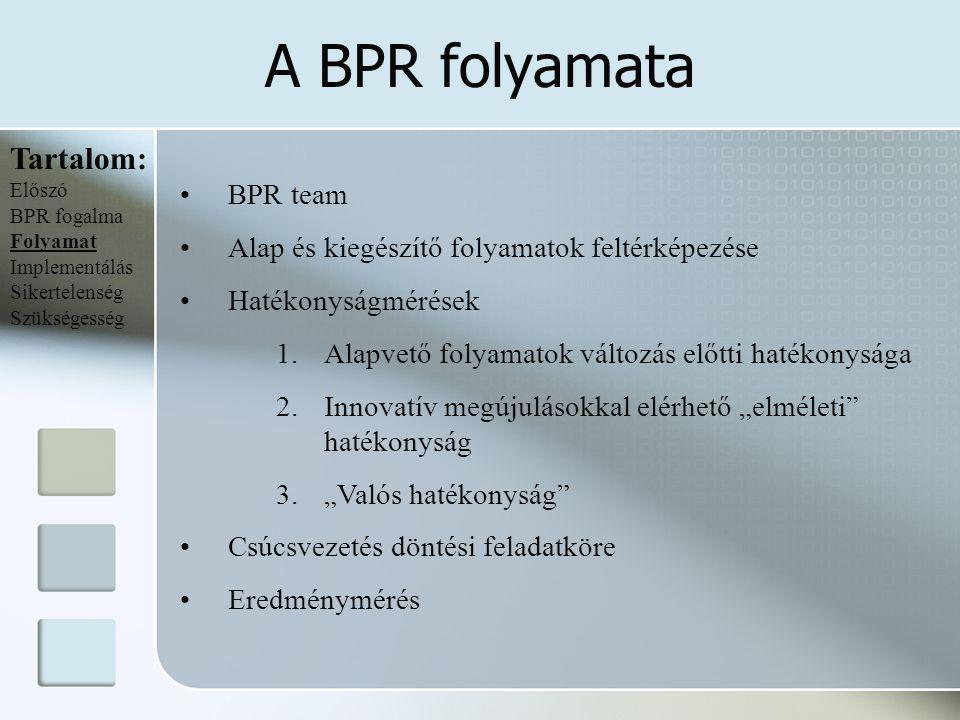 Az implementálás nehézségei Tartalom: Előszó BPR fogalma Folyamat Implementálás Sikertelenség Szükségesség Változásmenedzsment Kemény oldala Puha aspektusai Kemény tényezők tulajdonságai A vállalatok közvetve vagy közvetlenül mérhetik őket Fontosságuk a szervezeten belül és kívül egyaránt mérhető Gyorsan befolyásolhatóak