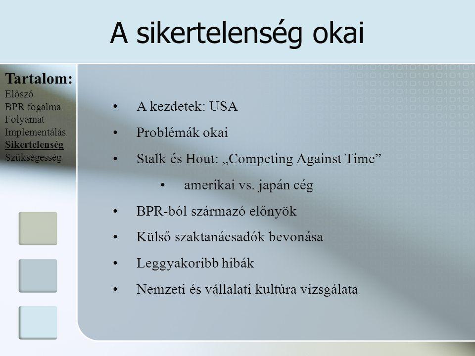 """A sikertelenség okai Tartalom: Előszó BPR fogalma Folyamat Implementálás Sikertelenség Szükségesség A kezdetek: USA Problémák okai Stalk és Hout: """"Com"""