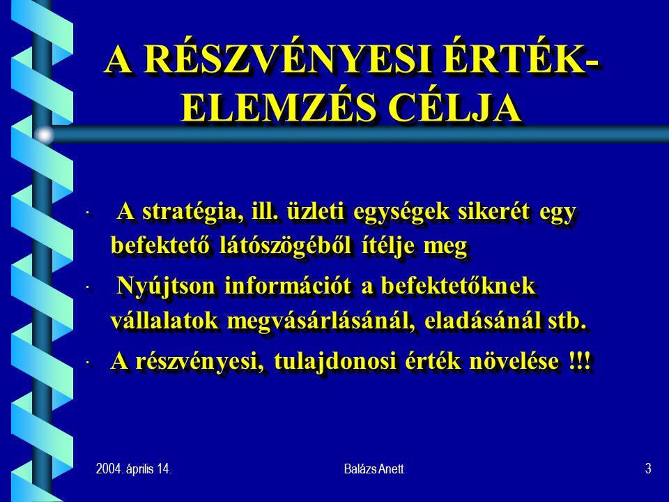 2004. április 14.Balázs Anett3 A RÉSZVÉNYESI ÉRTÉK- ELEMZÉS CÉLJA · A stratégia, ill.