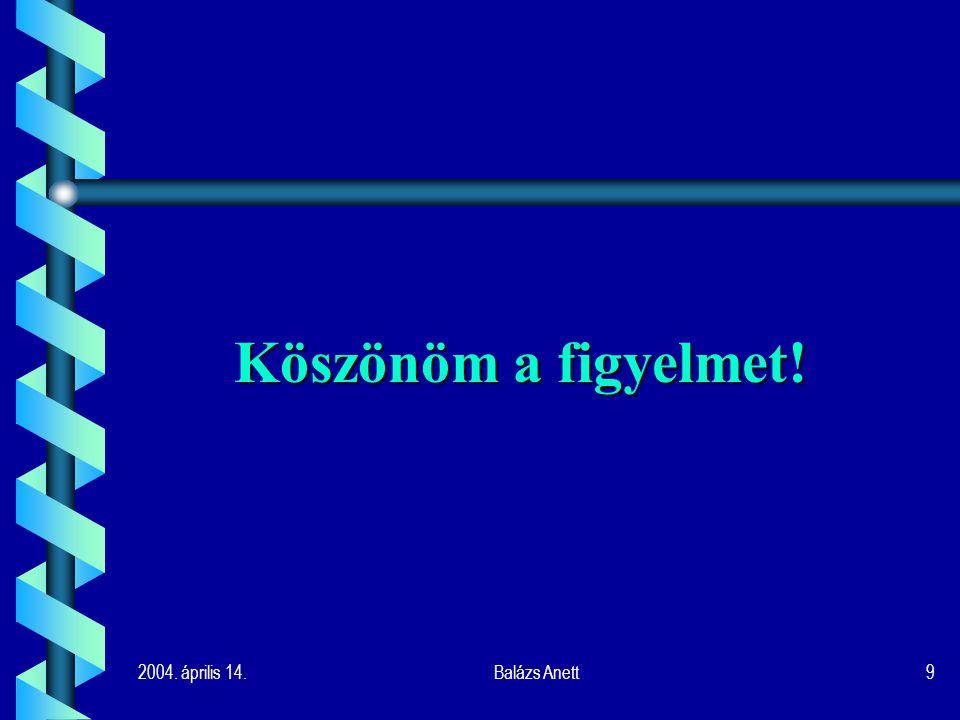 2004. április 14.Balázs Anett9 Köszönöm a figyelmet!
